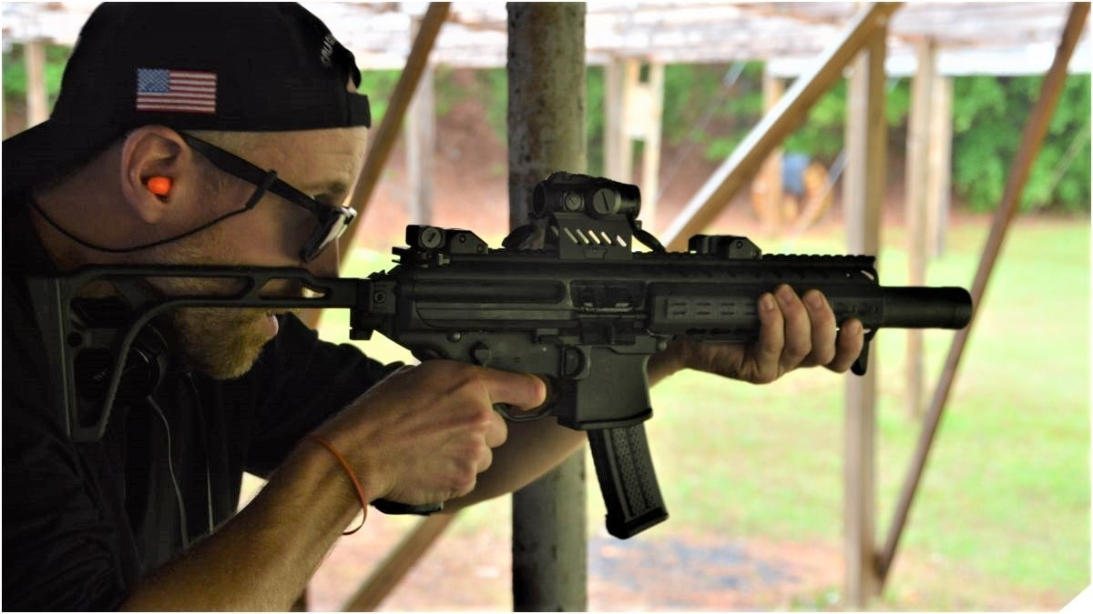 A SIG Sauer MPX series, with a suppressor.
