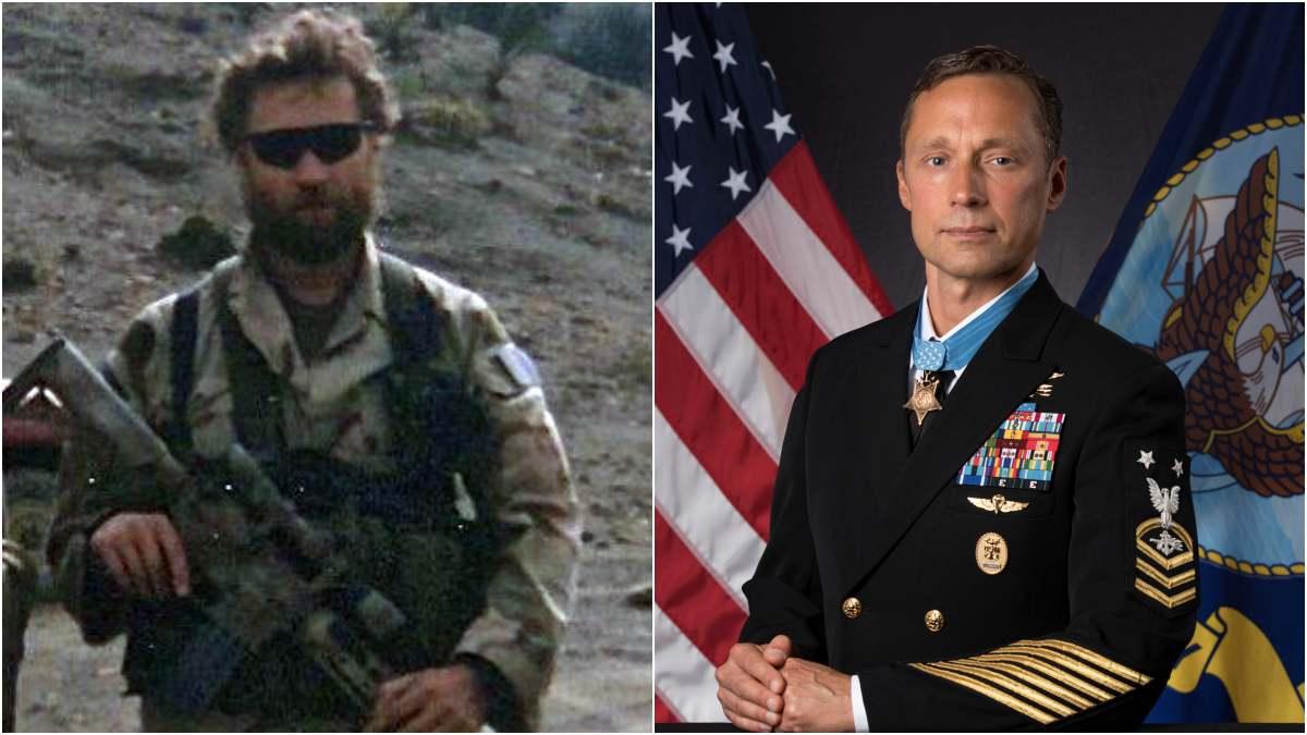 Slabinski in 2002 during Operation Anaconda and in 2018
