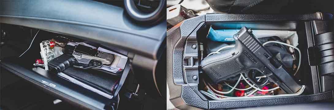 gun storage in center console and glovebox