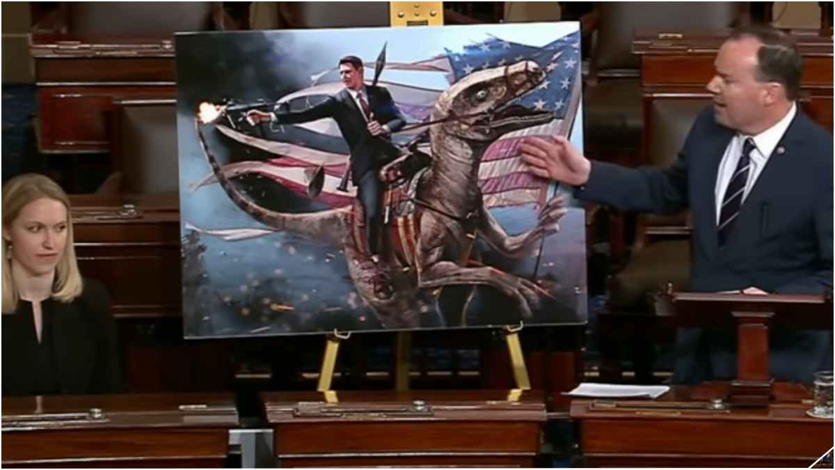 The Gipper, a H&K MP7, And A Velociraptor Made It To The Senate Floor