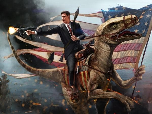 The Gipper, a H&K MP7, And A Velociraptor Made It To The Senate Floor2