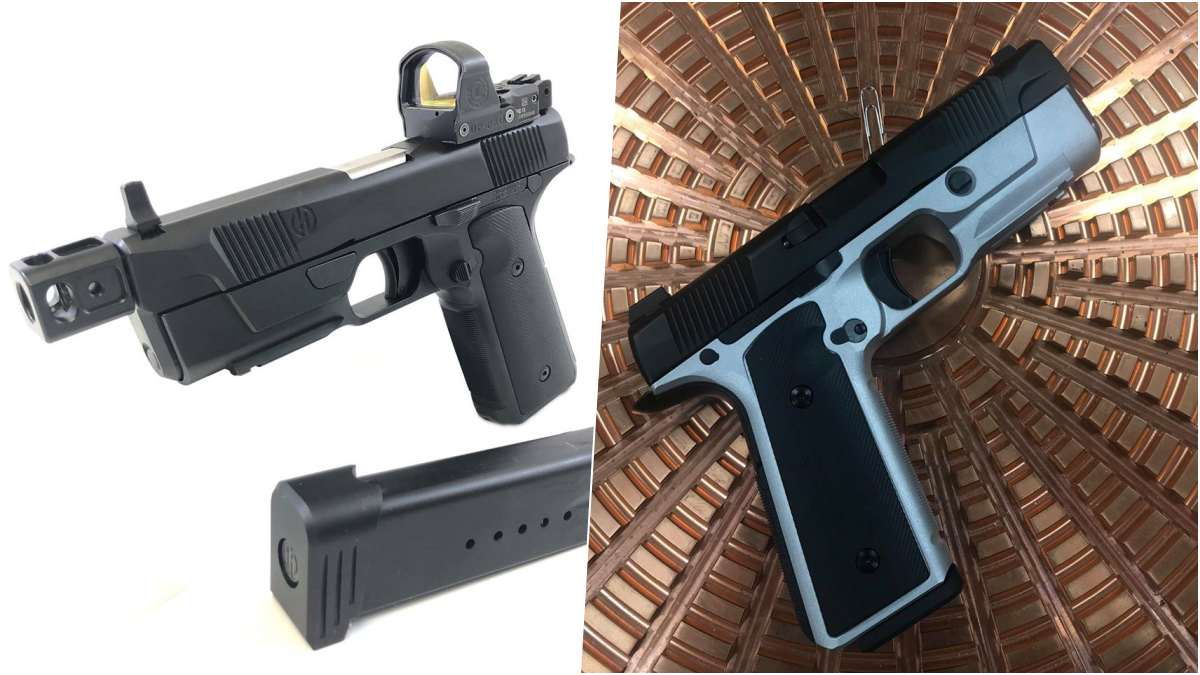 Hudson H9 pistols compared on a split screen