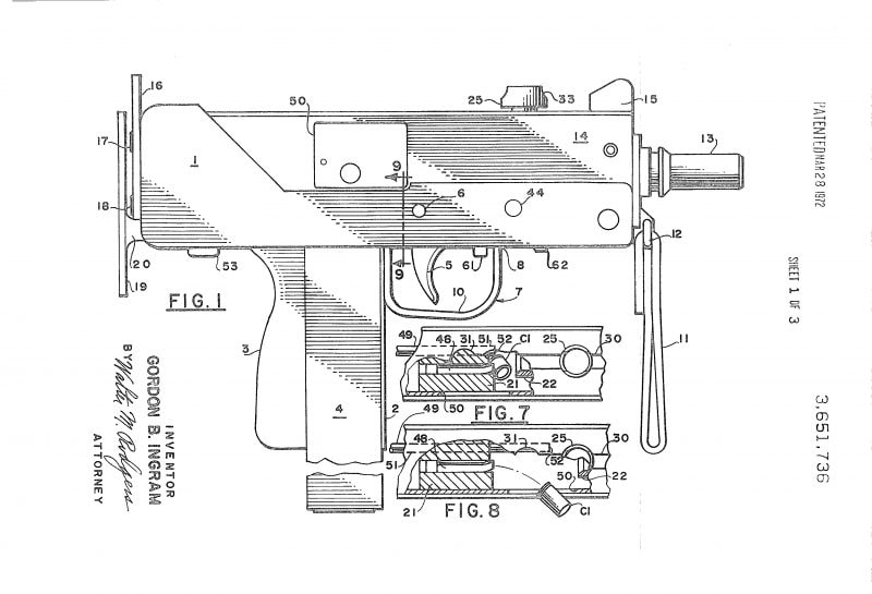 M10 Mac 10 patent drawing 1969