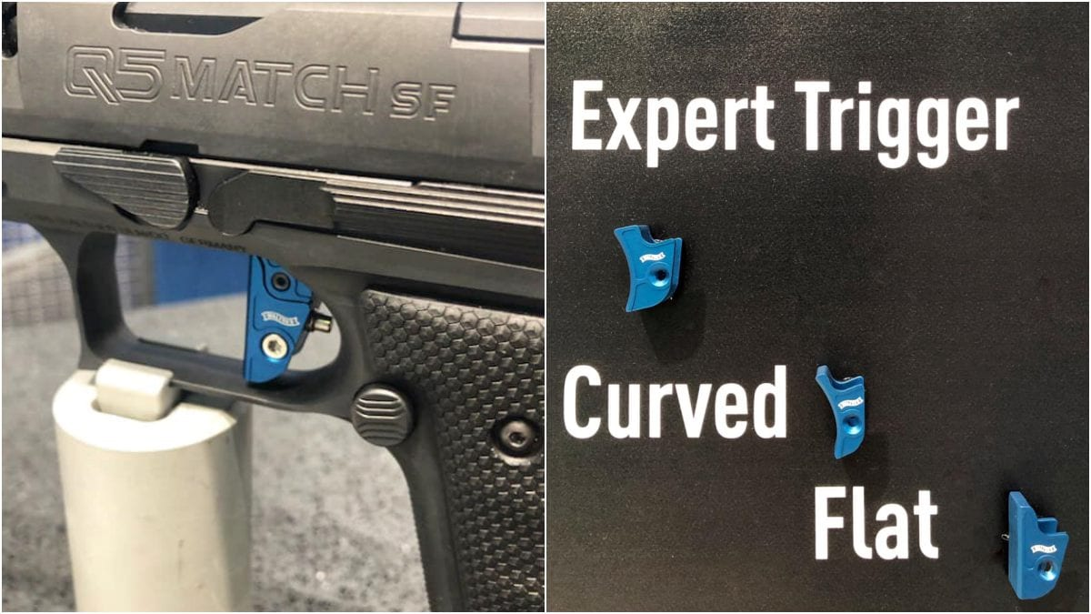 Walther hasn't said when it will be availible or what the cost is, but the three-way adjustable Expert Trigger will be offered in three shoe sizes as well as in both curved and flat styles. (Photos: Walther)