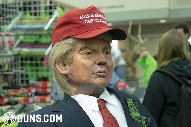 An almost life-size Trump doll was on display at booth at the NRA AM