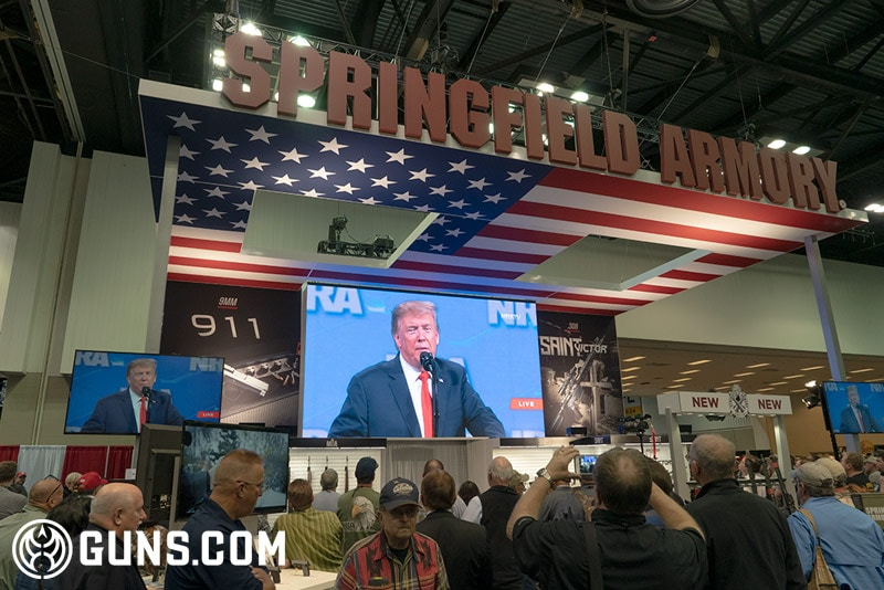 Dozens of attendees watched the president talk at the Springfield Armory big screen. (Photo: Ben Philippi / Guns.com)