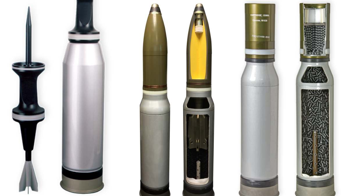 From left to right, a 120mm KE-W A1 tungsten Armor-Piercing, Fin-Stabilized, Discarding Sabot-Tracer (APFSDS-T), 120mm IM HE-T High Explosive, and M1028 canister round (Photos: General Dynamics)