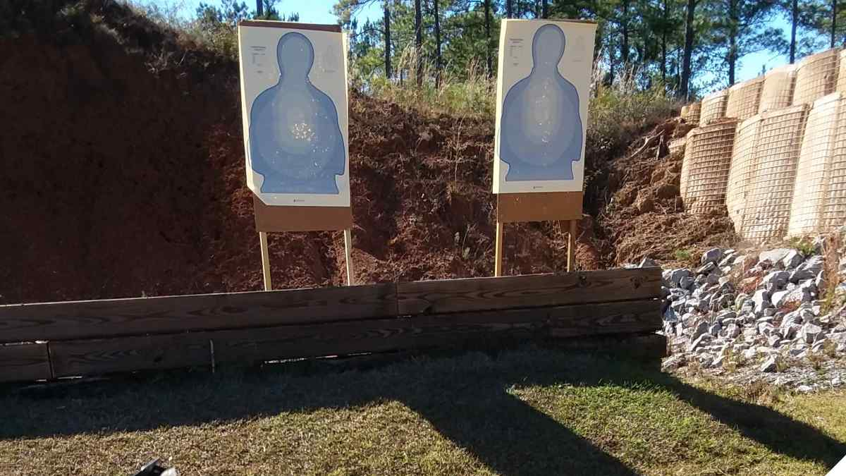 Two blue transition targets on the shooting range