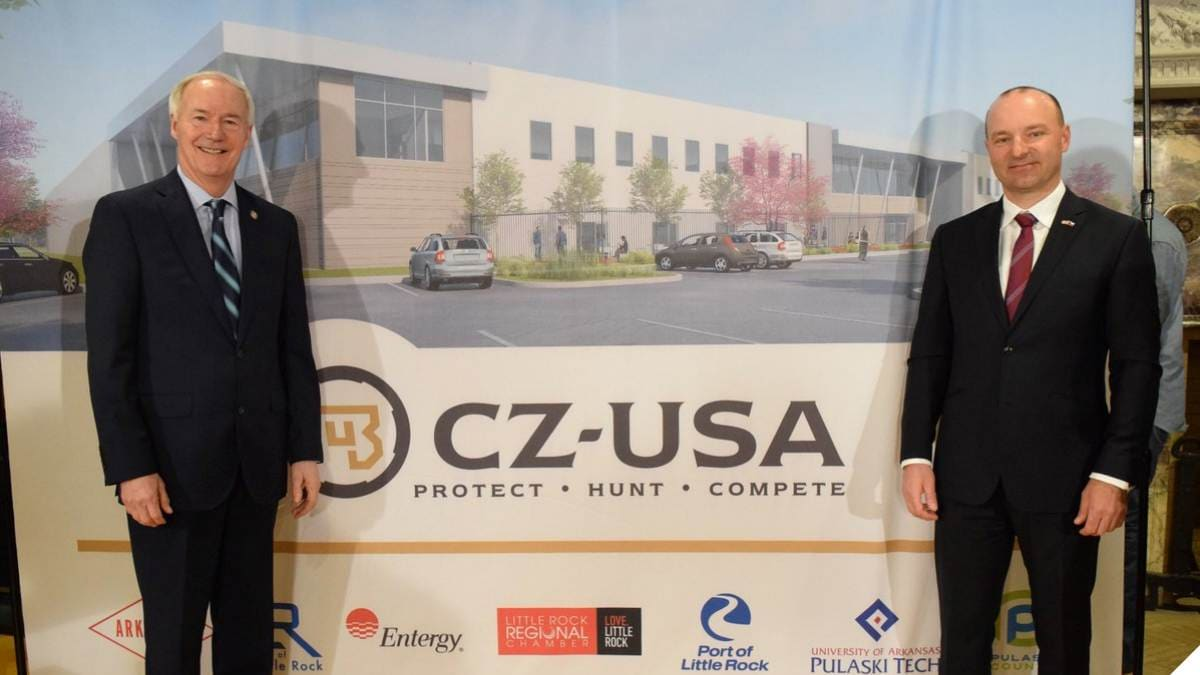 Arkansas Gov. Asa Hutchinson, left, and CZ-USA's Chairman of the Board Bogdán Heczko, were on-hand to announce the company's new plant in the state. (Photo: Hutchinson's office)
