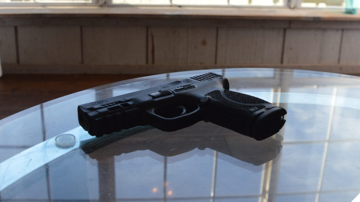 Smith & Wesson M&P 2.0 Compact on a living room table