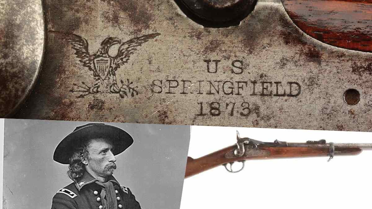 US 1873 Springfield Carbine collage with George Armstrong Custer's photo