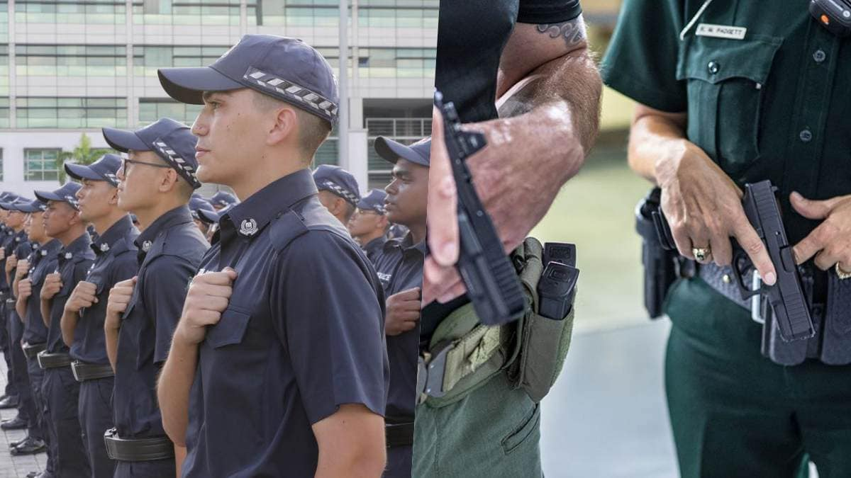 split screen collage with Singapore Police and U.S. police, the latter with Glock 45s
