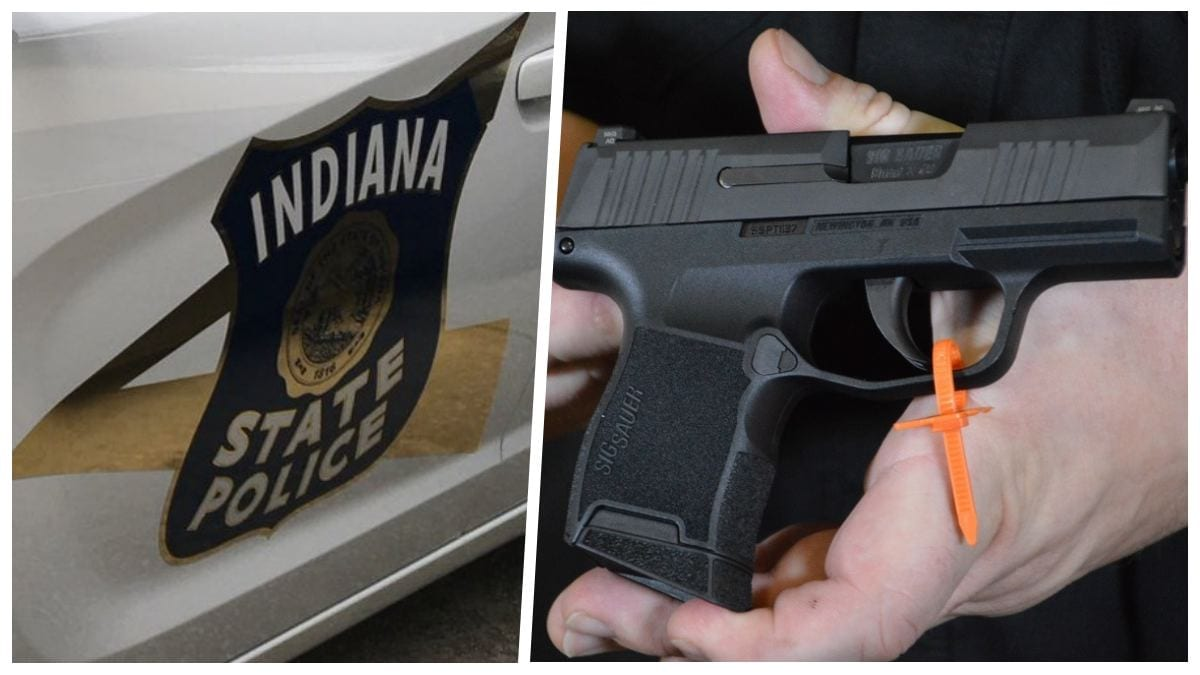 Indiana State Police car along with Sig Sauer P365 handgun split screen
