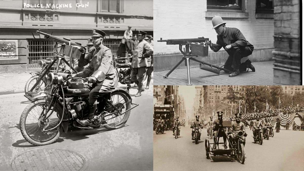 Police with Colt 1895 machine guns