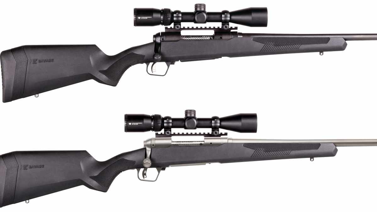 The Savage 110 Apex series includes the right-or-left-hand Hunter model in a blued finish, top, and the right-hand-only stainless Storm, bottom