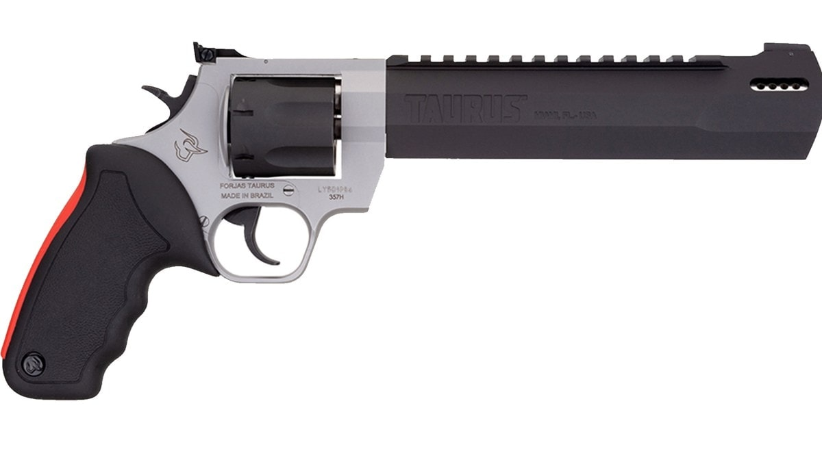 Taurus .357 Raging Hunter revolver with stainless frame and black barrel/cylinder