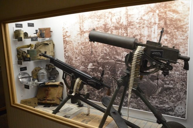 American WWI machine guns include a M1916 Colt Browning Potato Digger and a M1917 Browning Watercooled both in .3006