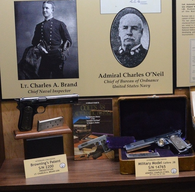 The collection included factory presentation guns given to Lt. Charles A. Brand, chief inspector for the Navy, and Adm. Charles O'Neil, who was head of the Navy's Bureau of Ordnance.