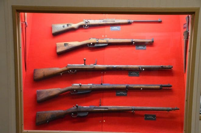Captured German Great War-era weapons include a Kar88, M71 Jaeger rifle, Z Rifle and Steyr M95