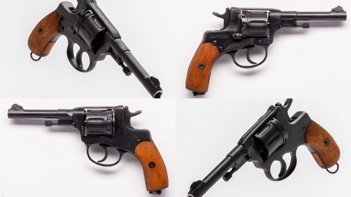 M1895 Nagant revolver from four different views