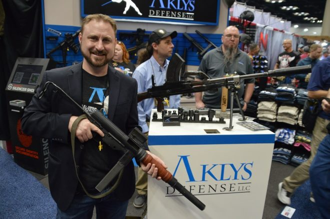 Joe Meaux with a suppressed M3 Grease gun