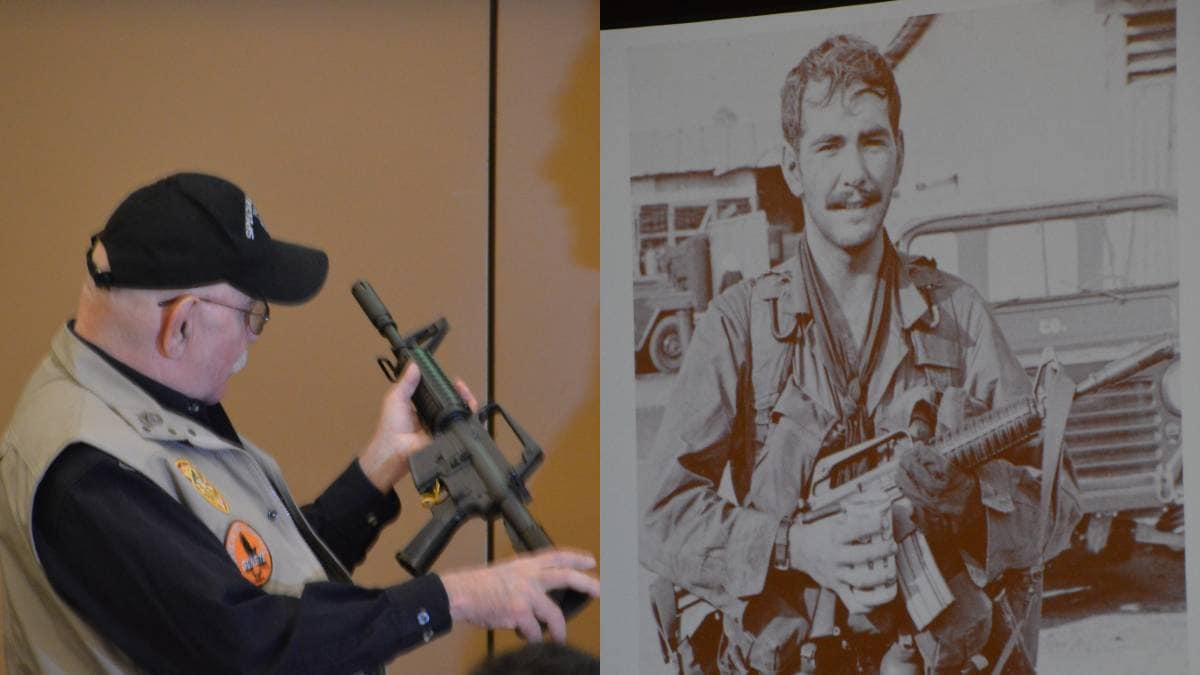 Plaster, receiving a new XM177E2 from Colt last month, left, contrasted with a slide during his presentation on the weapons of MACV-SOG in the Vietnam conflict, showing him as a Green Beret armed with his original weapon. (Photos: Chris Eger/Guns.com)