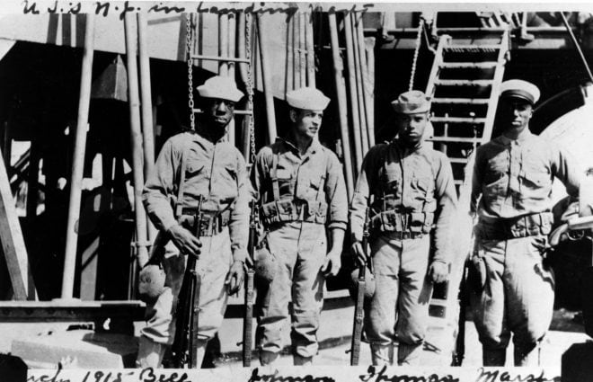 "The ""ought-three"" saw some of its first combat service with the Navy and Marines ashore in Haiti, Central America, and Mexico as early as 1914. These armed sailors, from the battleship New Jersey in 1915, have the newly issued rifle. (U.S. Navy Photo)"
