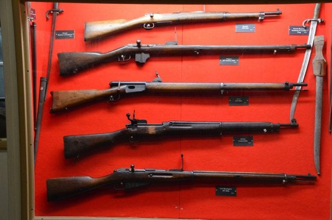 Other WWI weapons include a Spanish M93, Belgian M77, Swiss M78, American-made P14 Enfield, and U.S. M1917 Remington Enfield