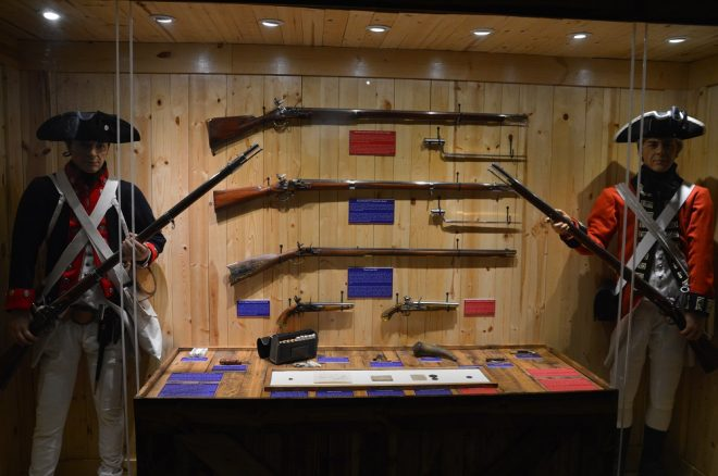 Revolutionary War weapons such as British Brown Bess and French 1777 Charleville muskets along with Pennsylvania rifles.