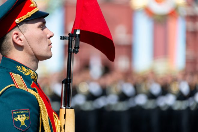 The Kremlin Regiment also called the Presidential Regiment, carried vintage SKS's for the parade