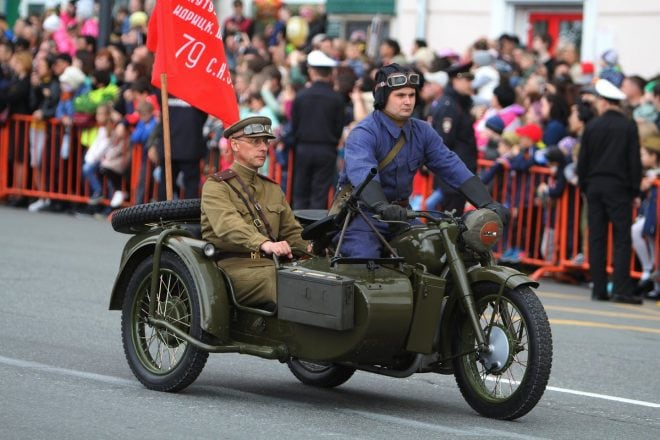 Russian Ural motorcycle DP28 Victory parade 2019
