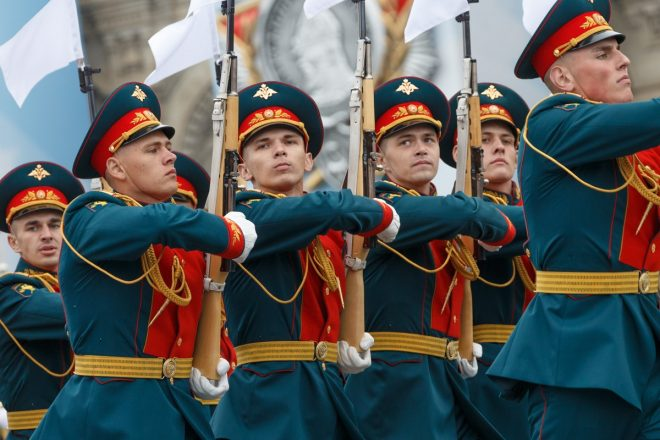 Russian Victory Parade Moscow May 2019 Kremlin regiment SKS blonde