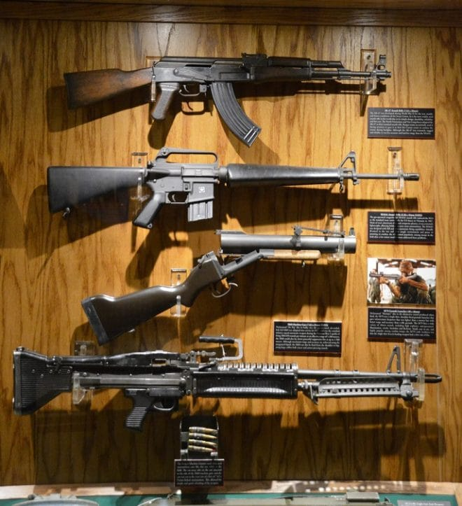 Speaking of Vietnam, there is a comprehensive display with an M79 Bloop Gun, M60 general purpose machine gun, M16A1, AK, and M72 LAW