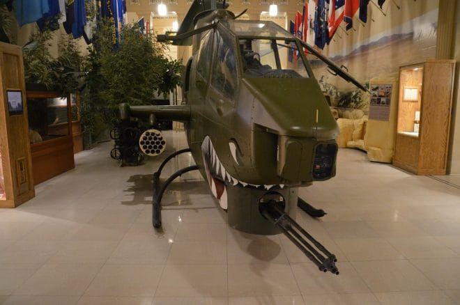 There is also an AH-1 Cobra gunship with its 3-barreled 20mm gun and rocket launchers
