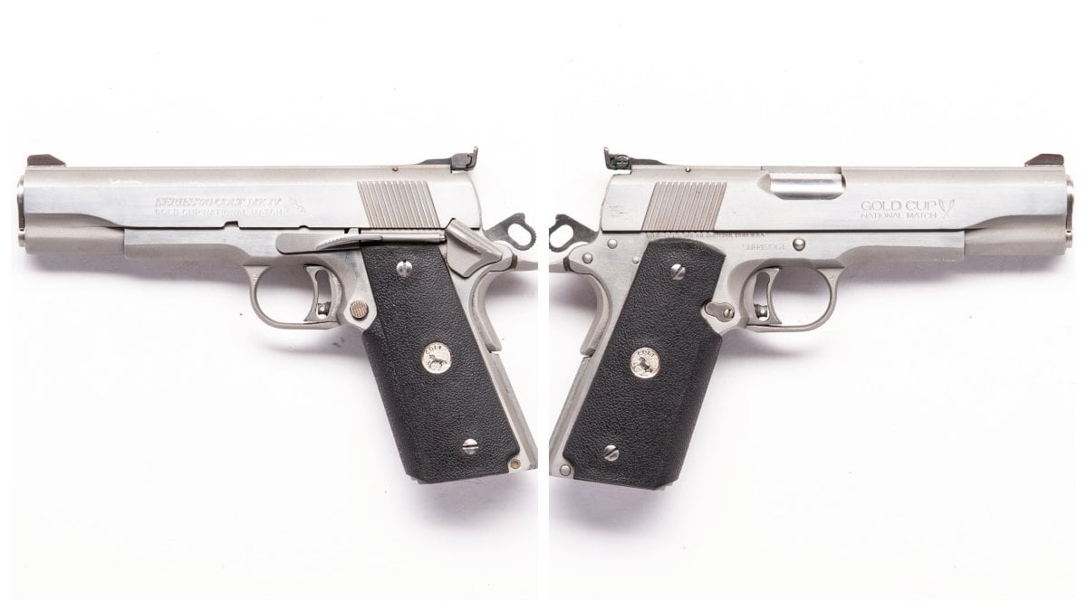 This stainless 80 Series Colt Gold Cup hails from 1993 and has wraparound grips
