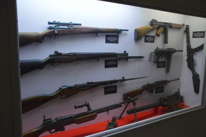 U.S. infantry weapons from World War II and Korea include M1 Garands and Carbines, the M1918 BAR, M1903 Springfield, M1 Thompson and M3 Grease Gun. Also note the M44 Mosin and PPSh, of Korean War era