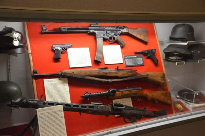 WWII German arms range from the MG42 machine gun and P08 Luger to an STG44, MP34 burp gun and K43