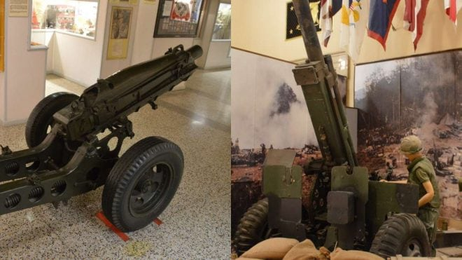 Heavy weapons on display include several light and medium artillery pieces
