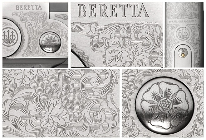 "Beretta's catalog lists the engraving style on the new 686 P1 as ""Lylium"" which includes a floral motif complete with leaves and grapes."