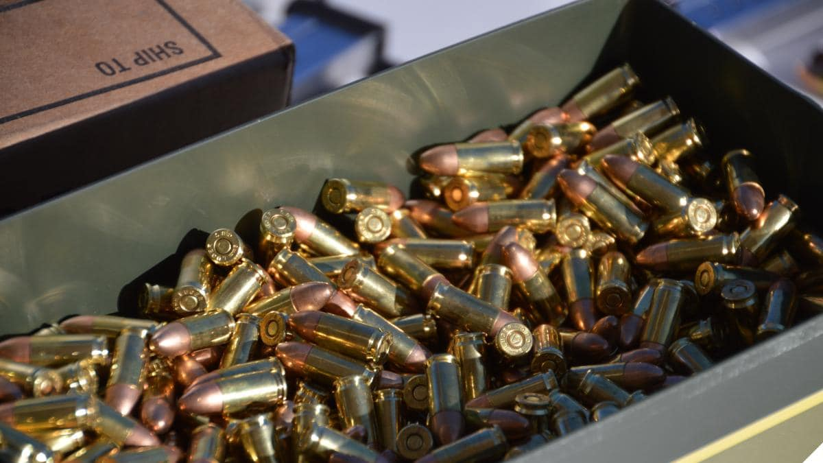 Can of 9mm ammunition