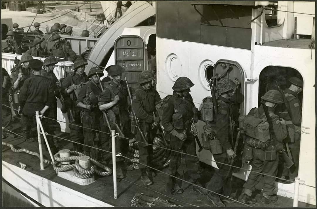 Canadians boarding a troopship for Normandy June 1944 CWM Enfields