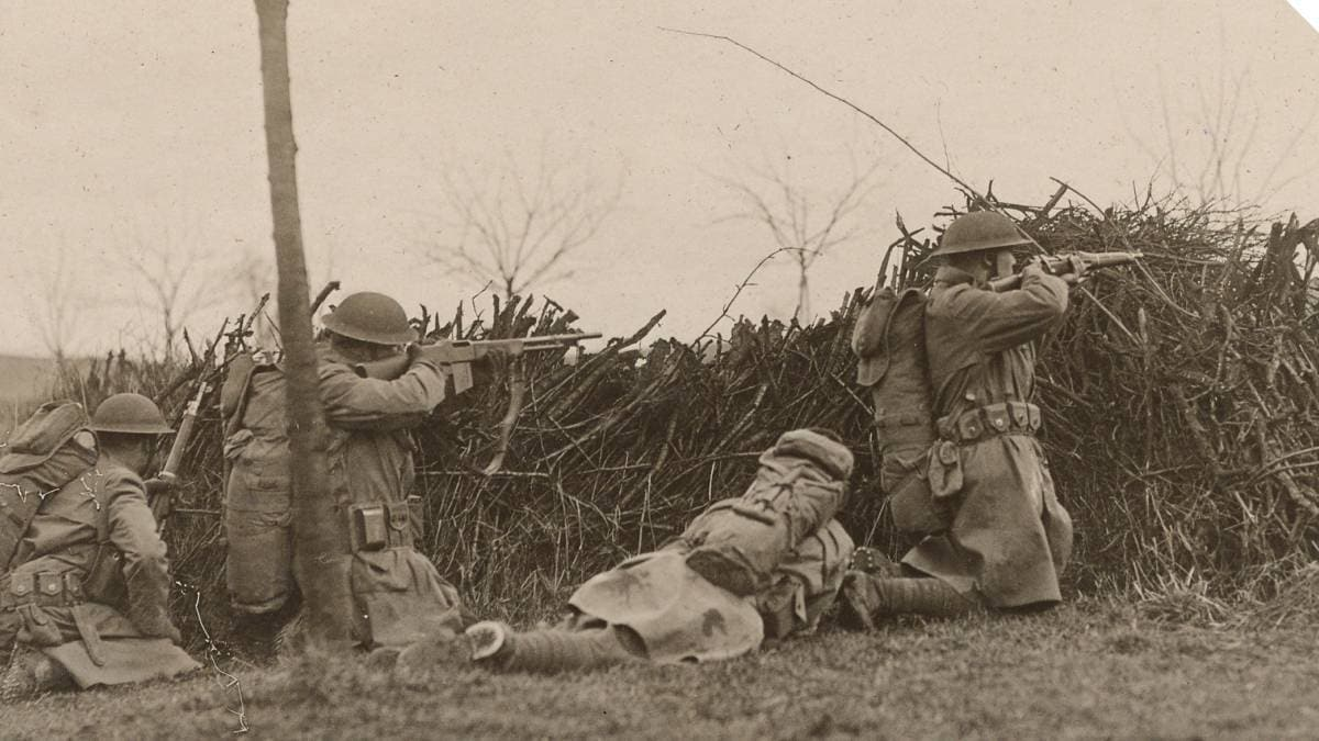 Men of the U.S. Army's 16th Infantry Regiment in maneuvers as part of the Army of Occupation, Otzingen, Germany, in 1919 while the Treaty of Versailles was being negotiated. The victorious Allies would continue to occupy parts of Germany after WWI ended through the 1920s. Note the M1903 Springfield rifles and a newly-issued M1918 BAR (Photo: Library of Congress)