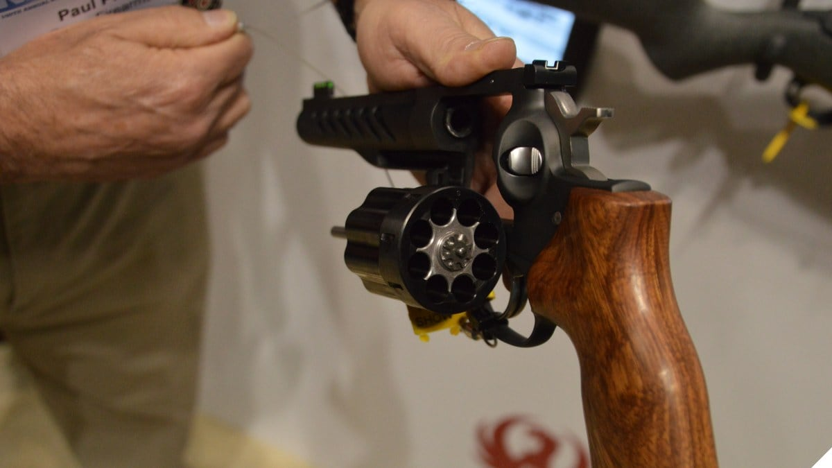 Man holds Ruger GP100 revolver