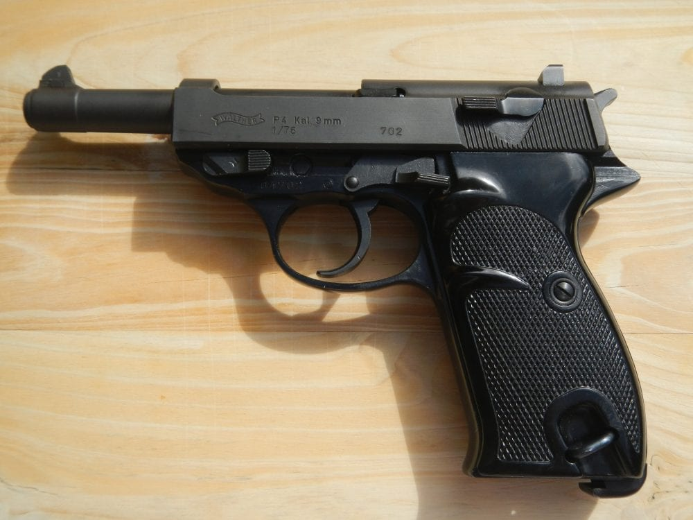 walther P4 police issue gun made in 1976 note the black plastic pebbled grips