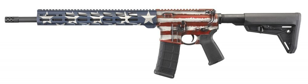 With an 18-inch 1-in-8-twist barrel, free float M-LOK handguard and MOE SL collapsible stock, the AR-556 Flag Series MSR, complete with red, white and blue Cerakote pattern, runs $949.