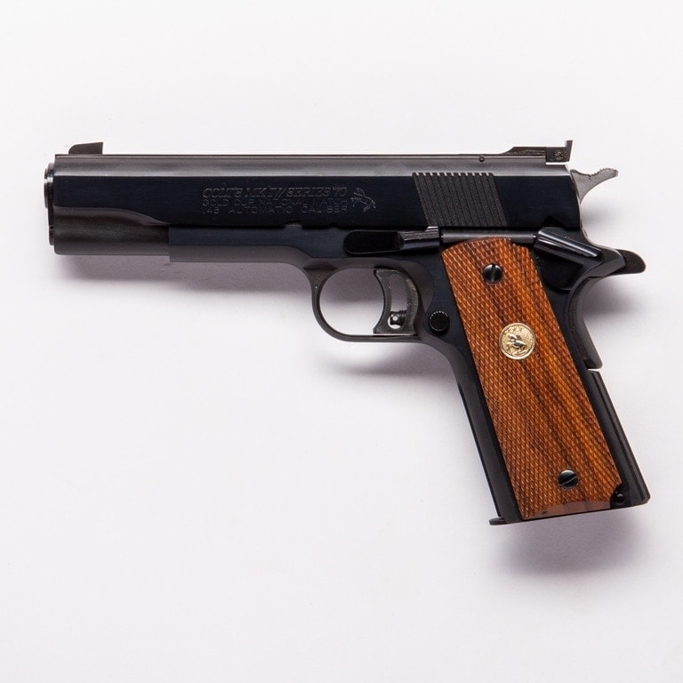 The blued Colt Gold Cup National Match from 1982, among the several in the Guns.com Vault, shows the everlasting beauty that is John Moses Browning's original M1911 design, which has been a staple of for Colt for over 100 years. (Photo: Richard Taylor/Guns.com)