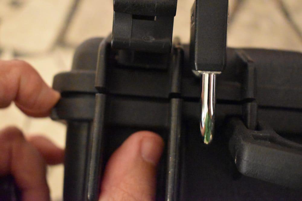 Pelican case padlock flying with gun