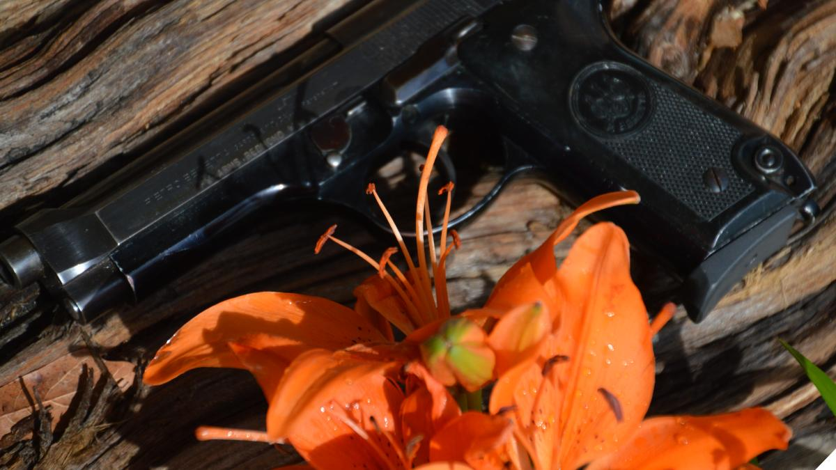 Beretta 92 and hibiscus