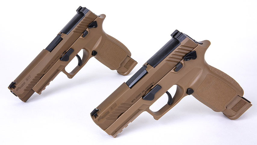 The MHS system consists of the compact-sized M18 pistol, foreground, as well as the more common full-sized M17, and a raft of Winchester-supplied companion ammo loadings. (Photo: Sig Sauer)