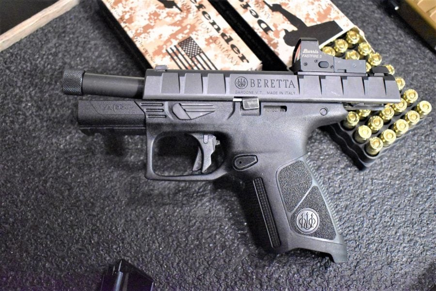 The suppressor-ready APX Centurion Combat at play. Of note, Beretta owns Burris and Steiner.